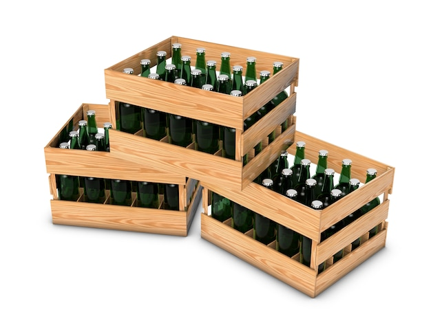 Wooden box with bottles