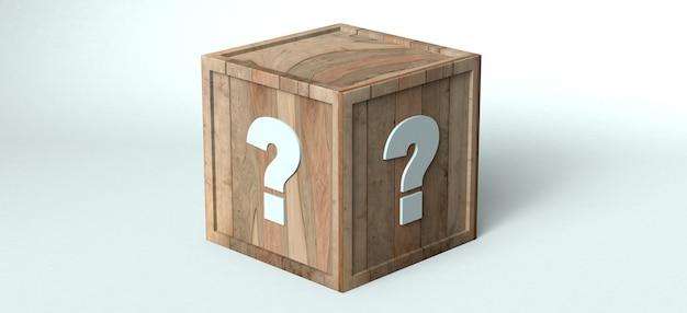 물음표가 있는 나무 상자. 3d 그림입니다.