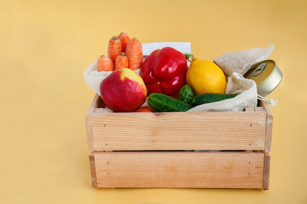 Wooden box with various food