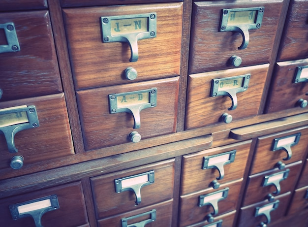 Wooden boxes for index cards in library