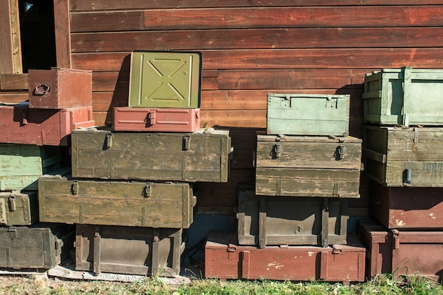 Wooden boxes for weapons storage and transportation