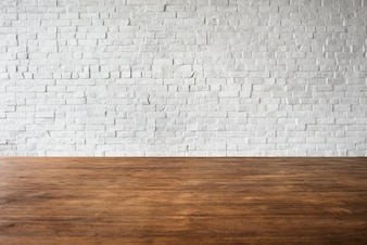 木製の煉瓦の床の壁構造は、白いコンセプトをテクスチャ