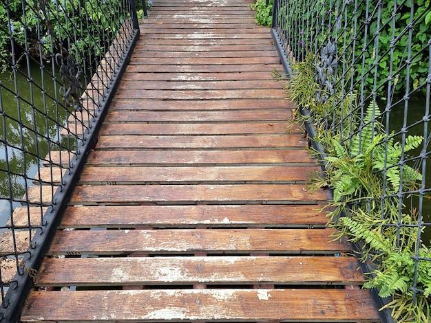 Wooden bridge in the garden