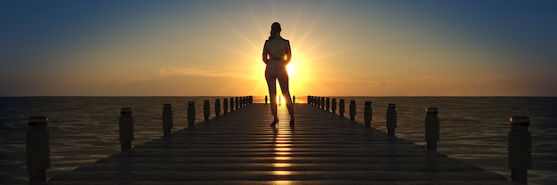Деревянный мост на закате с деловой женщиной 3d-рендеринга