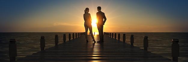 Деревянный мост на закате с бизнесменом 3d-рендеринга