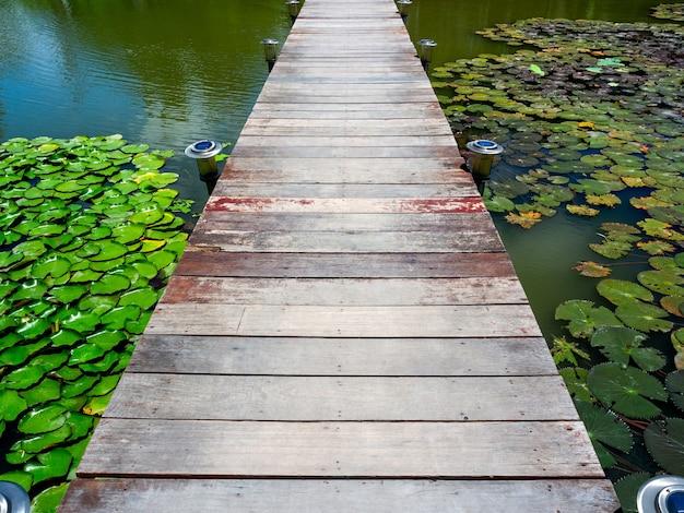 Деревянный мост в пруду с лотосами
