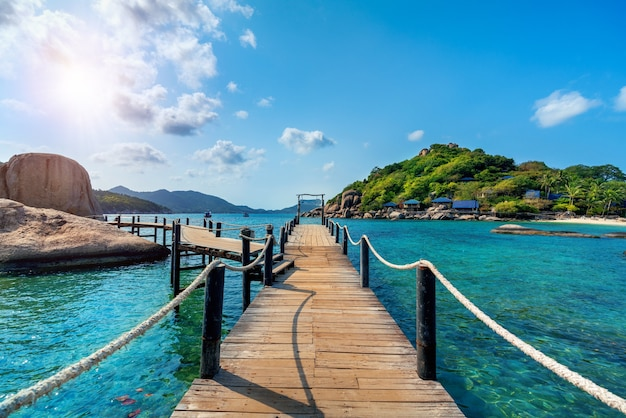 Wooden bridge at koh nangyuan island in surat thani, thailand