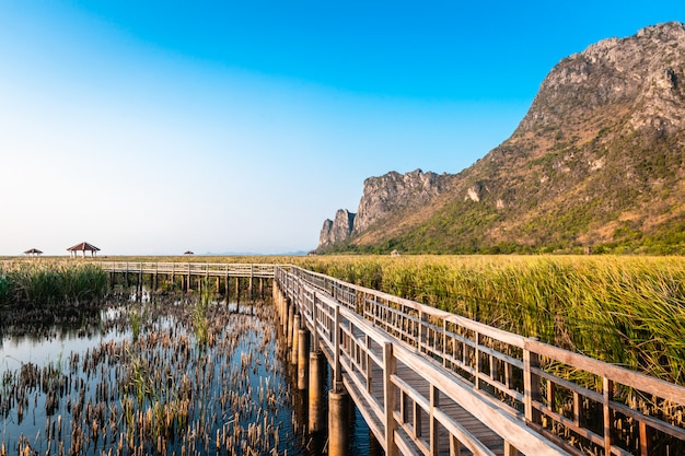 Wooden bridge in the lake and mountain lanscape on sunset at khao sam roi yot national park, thailand.