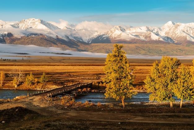 쿠라이 대초원에 있는 추야강 위에 있는 목조 다리. 수평선에 북쪽 chuysky 능선입니다. 알타이, 러시아