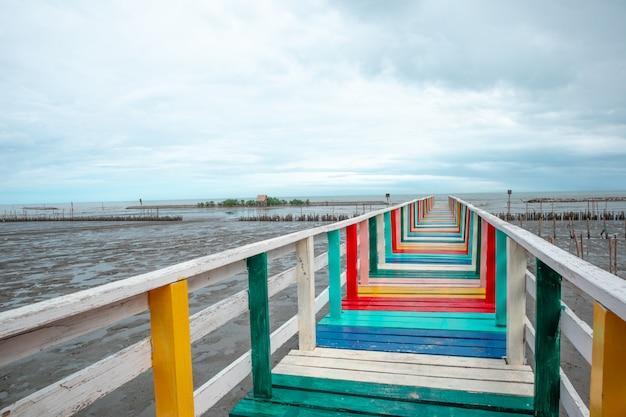 A wooden bridge protruding into the sea