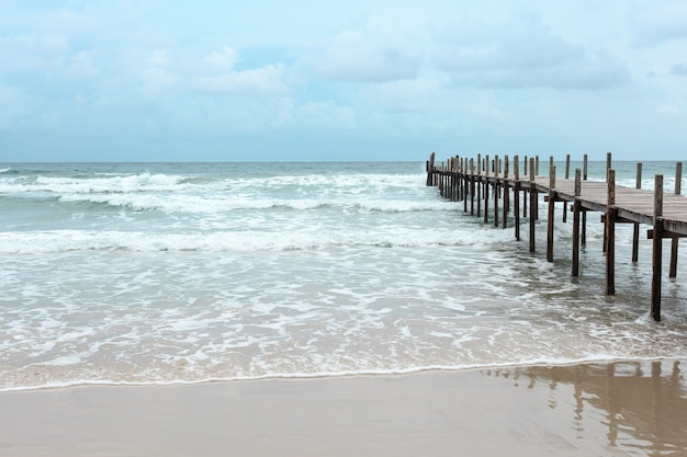 Wooden bridge over the sea. travel and vacation. freedom concept. kood island at trad province, thai