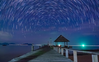 Wooden Bridge Sea View With Night Sky Speed Exposure Motion
