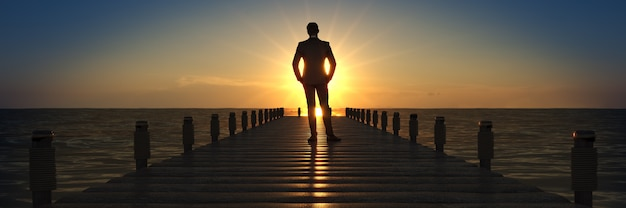 Wooden bridge in a sunset with businessman 3d rendering
