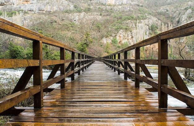 クロアチアのクルカ国立公園の緑に覆われた岩に囲まれた木製の橋