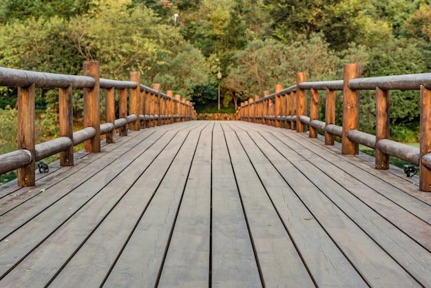 Wooden bridge with vegetation background