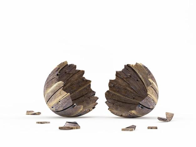 木製の壊れたイースターエッグシェル