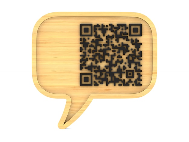 Wooden bubble speak and qr code on white.