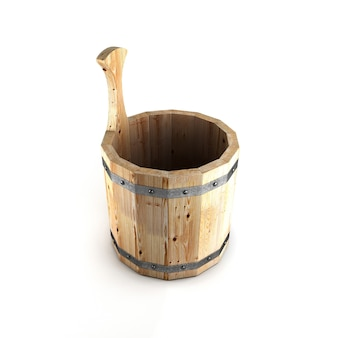 Деревянное ведро для бани изолированное