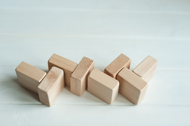 Wooden building blocks forms