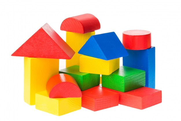 Wooden building blocks for kids isolated on white