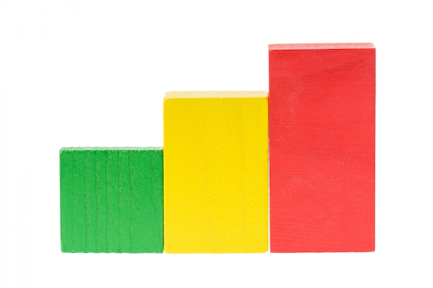 Wooden building blocks like raffic light green, yellow, red for kids isolated on white