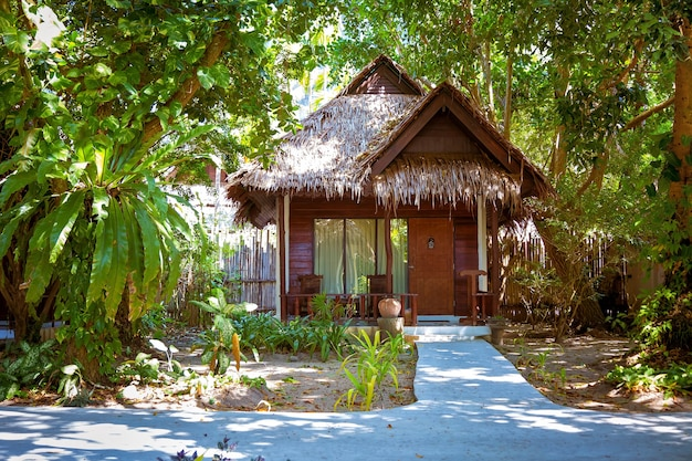 Wooden bungalow on door a sign make up room rainforest and concrete path leading house