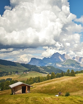 A wooden cabin in a green land under white clouds with the beautiful mountains
