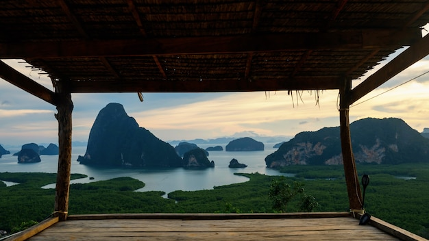Wooden cabin to see phang nga bay view from samet nang chee, thailand