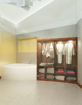 현대적인 욕실에 투명 유리문이 달린 목욕 가운이 달린 속옷과 수건을위한 나무 캐비닛