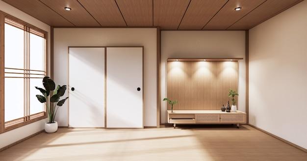 현대 빈 방과 흰색 바닥 방 일본식에 흰 벽에 나무 캐비닛