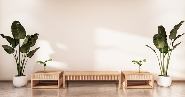 Wooden cabinet in modern empty room and white wall on white floor room japanese style