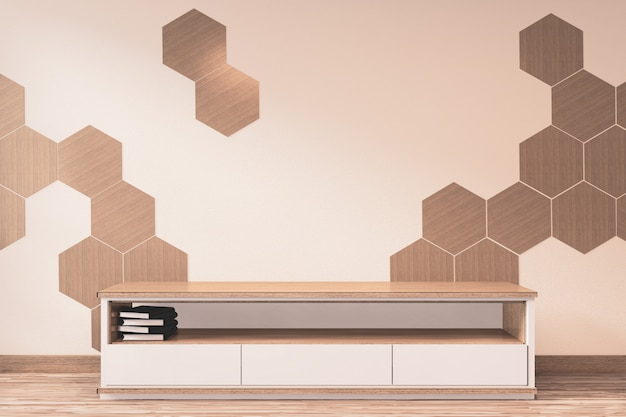 Wooden cabinet tv with wooden hexagon tiles on wall  japanese style