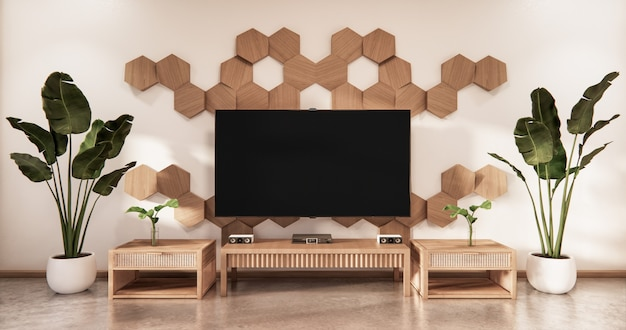Wooden cabinet tv with wooden hexagon tiles on wall and tatami mat floor room japanese style