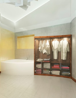 Wooden cabinet for underwear and towel with bathrobes with transparent doors of glass in a modern bathroom