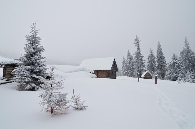 Деревянные домики в горной долине