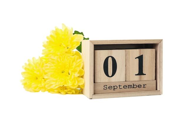 Деревянный календарь и цветы, изолированные на белом фоне