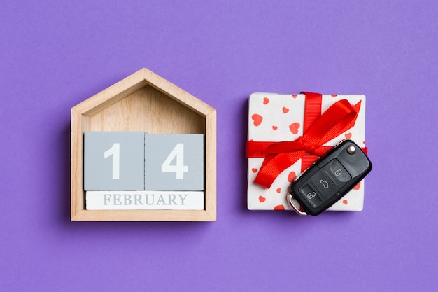 Wooden calendar, gift box and car keys