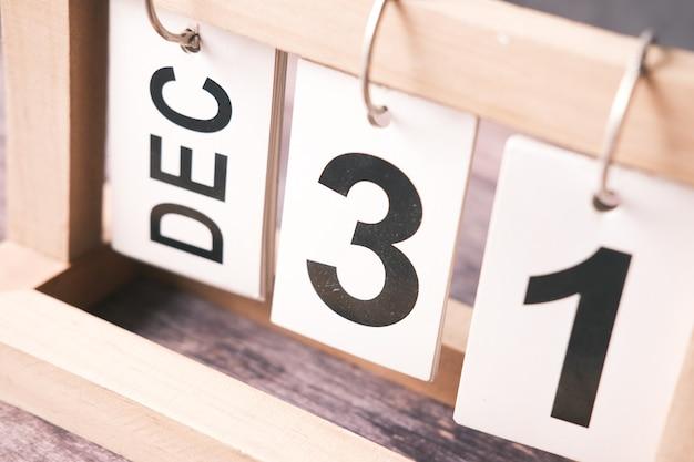 Wooden calendar set on the  of december