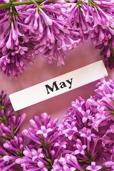 5月の木製カレンダー春月とピンクの背景にライラックの花をクローズアップ。コピースペース。最小限のスタイル。