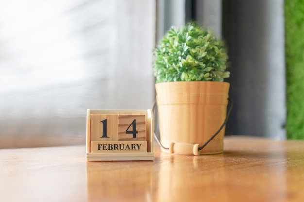 Wooden calendar on the table
