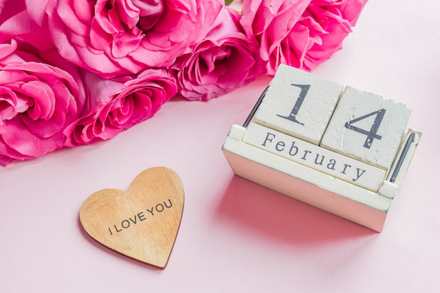 Wooden calendar with 14th february date
