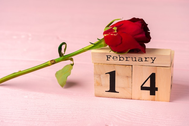 Wooden calendar with date 14th of february