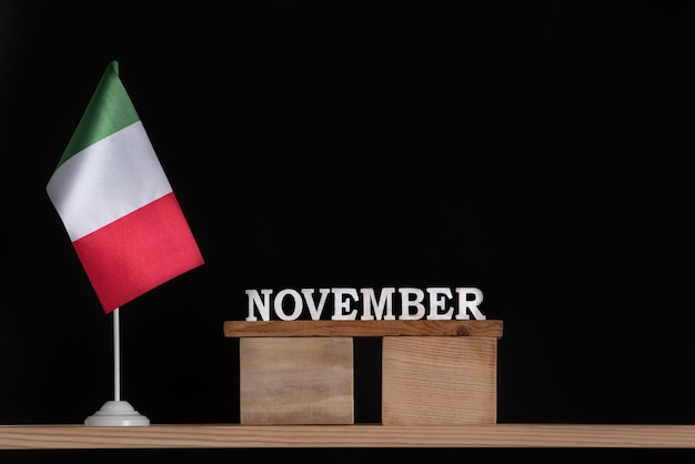 Wooden calendar with italian flag