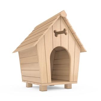 Деревянный дом собаки шаржа на белой предпосылке. 3d рендеринг