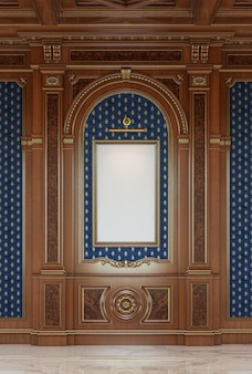 Wooden carved panels in classic style with a picture frame.