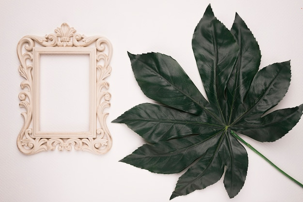 Wooden carving frame near the green artificial leaf on white backdrop