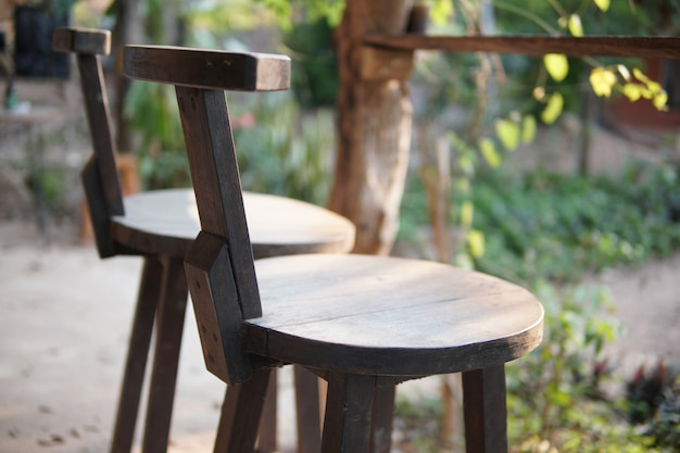 Wooden chair on balcony terrace patio for resting