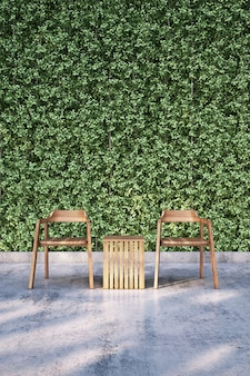 Wooden chair on bare concrete floor with plant wall. 3d rendering