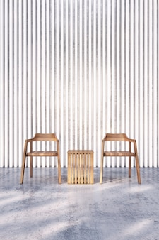 Wooden chair on bare concrete floor with white lath wall. 3d rendering