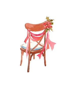 Wooden chair decorated with roses ribbons wedding decor